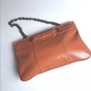J Crew patent crinkle leather bow clutch purse